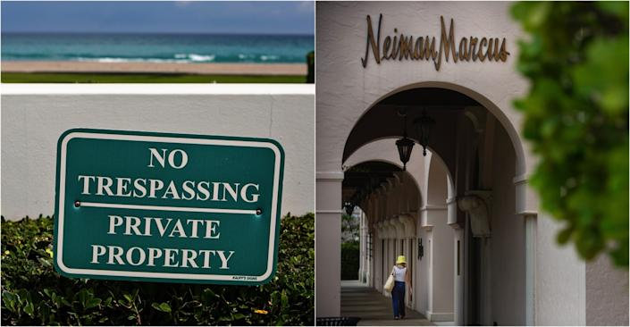 "At left, a sign near a wall by the beach reads ""No trespassing / Private property."" At right, a closed Neiman Marcus store."