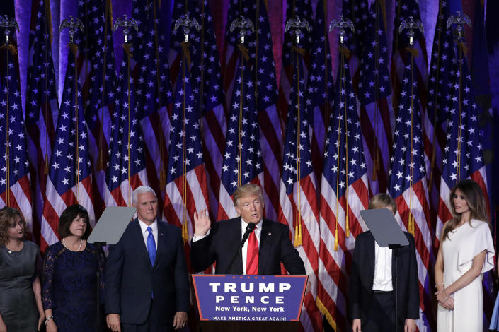 <p>President-elect Donald Trump gives his acceptance speech during his election night rally, Wednesday, Nov. 9, 2016, in New York. (AP Photo/John Locher) </p>