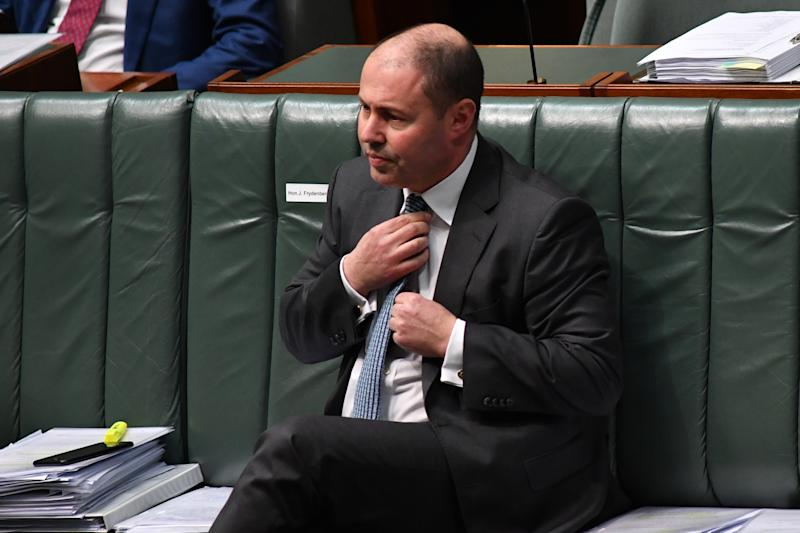 CANBERRA, AUSTRALIA - JUNE 17: Treasurer Josh Frydenberg during Question Time in the House of Representatives at Parliament House on June 17, 2020 in Canberra, Australia. Three Victorian Labor MPs have resigned amid corruption and branch stacking allegations following an investigation by The Age newspaper and 60 minutes which aired on Sunday night. (Photo by Sam Mooy/Getty Images)
