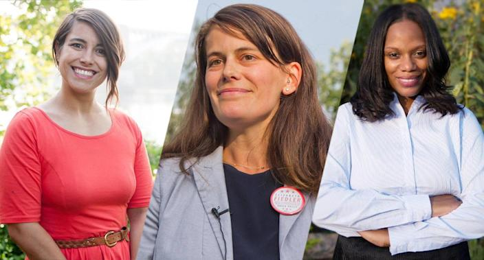 DSA success stories, from left: Sara Innamorato, Elizabeth Fiedler and Summer Lee. (Photos: SaraForPA via Facebook, Fiedler4Philly via Facebook, SummerForPA via Facebook)