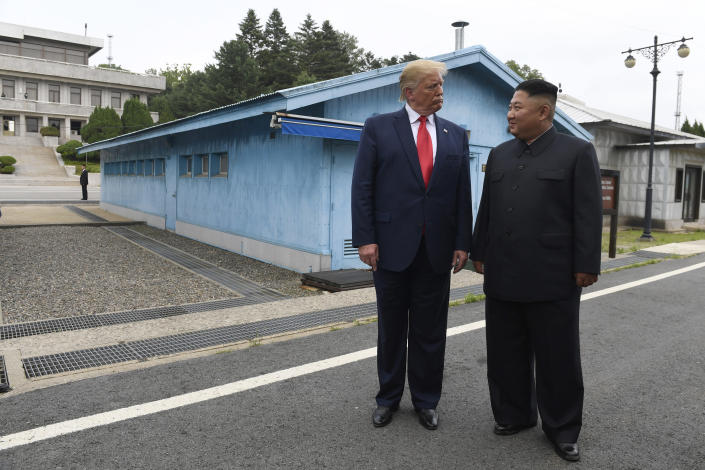 "FILE - In this June 30, 2019 file photo, President Donald Trump meets with North Korean leader Kim Jong Un at the border village of Panmunjom in Demilitarized Zone, South Korea. South Korea's military say it has detected an ""unidentified object"" flying near the border with North Korea. The South's Joint Chiefs of Staff says its radar found ""the traces of flight by an unidentified object"" on Monday, July 1, over the central portion of the Demilitarized Zone that bisects the two Koreas. (AP Photo/Susan Walsh, File)"