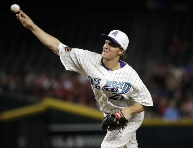 Arizona Diamondbacks starting pitcher Zack Greinke throws to a San Francisco Giants batter during the first inning of a baseball game Thursday, April 19, 2018, in Phoenix. (AP Photo/Matt York)