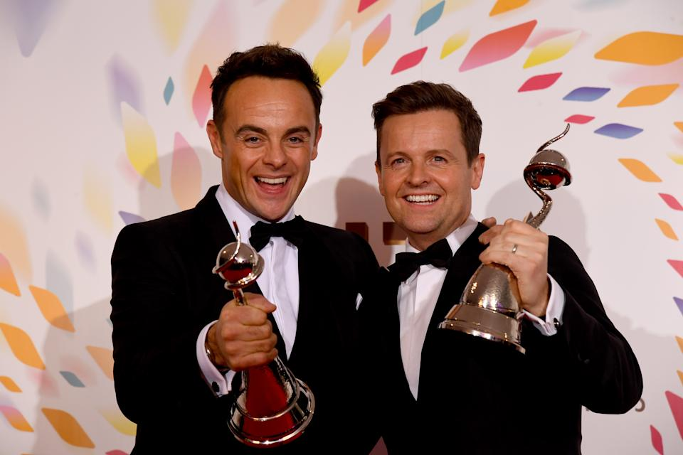 LONDON, ENGLAND - JANUARY 28: Ant and Dec win the Bruce Forsyth Award at the National Television Awards 2020 at The O2 Arena on January 28, 2020 in London, England. (Photo by Dave J Hogan/Getty Images)