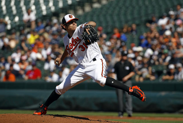 Baltimore Orioles starting pitcher Jimmy Yacabonis throws to the New York Yankees in the second inning of the first baseball game of a doubleheader, Monday, July 9, 2018, in Baltimore. (AP Photo/Patrick Semansky)