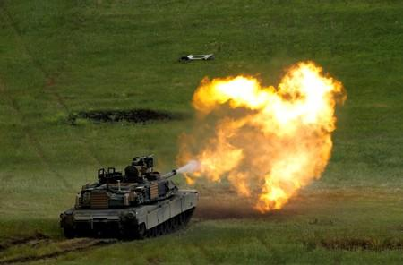 "FILE PHOTO: U.S. M1A2 ""Abrams"" tank fires during U.S. led joint military exercise ""Noble Partner 2016"" in Vaziani"
