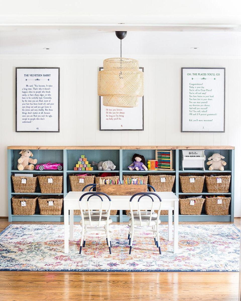 """<p>By dedicating an entire room—and a full bookcase—to kids' activities, clutter is more likely to be contained to just one area.</p><p><strong>See more at </strong><strong><a href=""""https://www.blesserhouse.com/the-best-ikea-items-for-a-stylish-home-on-a-budget/"""" rel=""""nofollow noopener"""" target=""""_blank"""" data-ylk=""""slk:Bless'er House"""" class=""""link rapid-noclick-resp"""">Bless'er House</a>.</strong></p><p><a class=""""link rapid-noclick-resp"""" href=""""https://www.amazon.com/TomCare-Storage-Organizer-Organizing-Shelving/dp/B07CHCLN4B?tag=syn-yahoo-20&ascsubtag=%5Bartid%7C10063.g.36014277%5Bsrc%7Cyahoo-us"""" rel=""""nofollow noopener"""" target=""""_blank"""" data-ylk=""""slk:SHOP BLOCK STORAGE"""">SHOP BLOCK STORAGE</a><strong><br></strong></p>"""