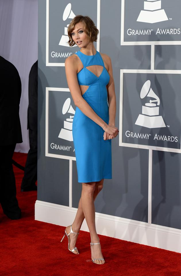 """<div class=""""caption-credit""""> Photo by: Getty</div><div class=""""caption-title""""></div>Karlie Kloss showed off her supermodel physique in Michael Kors. <br> <a href=""""http://stylecaster.com/worst-dressed-stars-2013-grammys-red-carpet/"""" target=""""""""><b><i>See 22 More Of The Best And Worst Dresses From The Grammys!</i></b></a>"""
