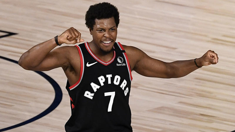 LAKE BUENA VISTA, FLORIDA - SEPTEMBER 03: Kyle Lowry #7 of the Toronto Raptors reacts after their win over Boston Celtics in Game Three of the Eastern Conference Second Round during the 2020 NBA Playoffs at the Field House at the ESPN Wide World Of Sports Complex on September 03, 2020 in Lake Buena Vista, Florida. NOTE TO USER: User expressly acknowledges and agrees that, by downloading and or using this photograph, User is consenting to the terms and conditions of the Getty Images License Agreement. (Photo by Douglas P. DeFelice/Getty Images)