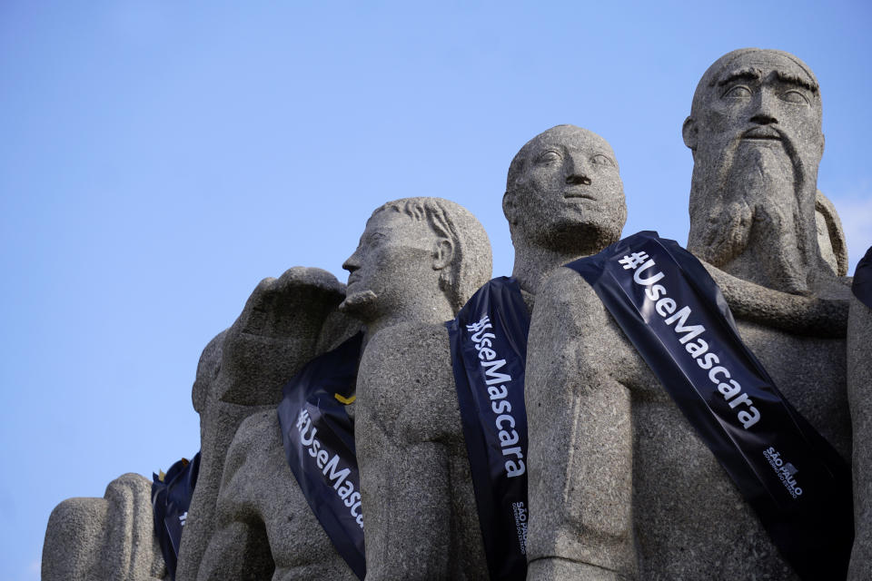 On November 2, 2020, the day of the dead, Historical monuments in Sao Paulo, Brazil were adorned with a black ribbon, in mourning for the victims of the pandemic. In the photo, Monument to the Flags. Sao Paulo state has been in official mourning since May 6, when Governor Joao Doria determined that the solemn period should extend until the end of the pandemic. (Photo by Cris Faga/NurPhoto via Getty Images)