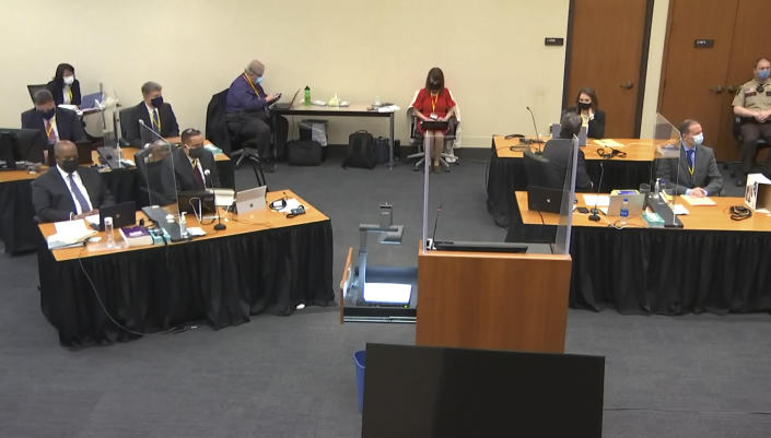 In this image from video, the court listens as Hennepin County Judge Peter Cahill presides over pre-trial motions prior to opening statements, Monday, March 29, 2021, in the trial of former Minneapolis police officer Derek Chauvin, in the May 25, 2020, death of George Floyd at the Hennepin County Courthouse in Minneapolis, Minn. (Court TV via AP, Pool)
