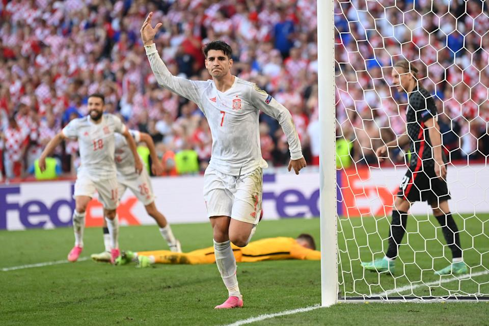 TOPSHOT - Spain's forward Alvaro Morata celebrates after scoring his team's fourth goal during the UEFA EURO 2020 round of 16 football match between Croatia and Spain at the Parken Stadium in Copenhagen on June 28, 2021. (Photo by STUART FRANKLIN / POOL / AFP) (Photo by STUART FRANKLIN/POOL/AFP via Getty Images)