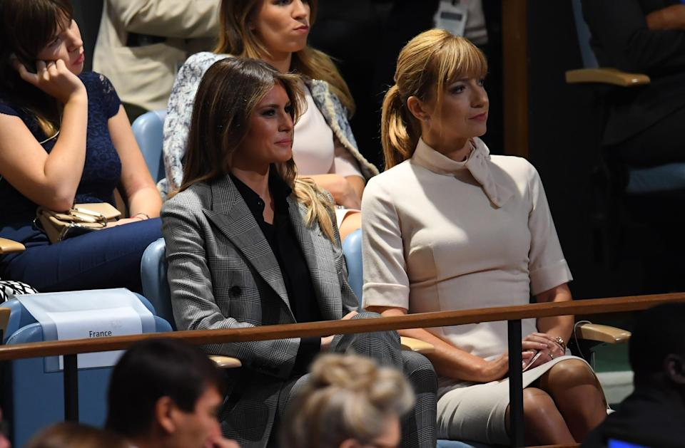 First lady Melania Trump listens to her husband, President Trump, address the General Assembly at the United Nations on Sept. 19. (Photo: Timohty A. Clary/AFP/Getty Images)