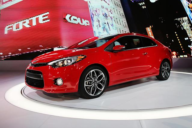NEW YORK, NY - MARCH 27: The new 2014 Kia Forte Koup is displayed at the 2013 New York International Auto Show on March 27, 2013 in New York City. The New York Auto Show will open to the public on Friday and run until April 7. (Photo by Spencer Platt/Getty Images)