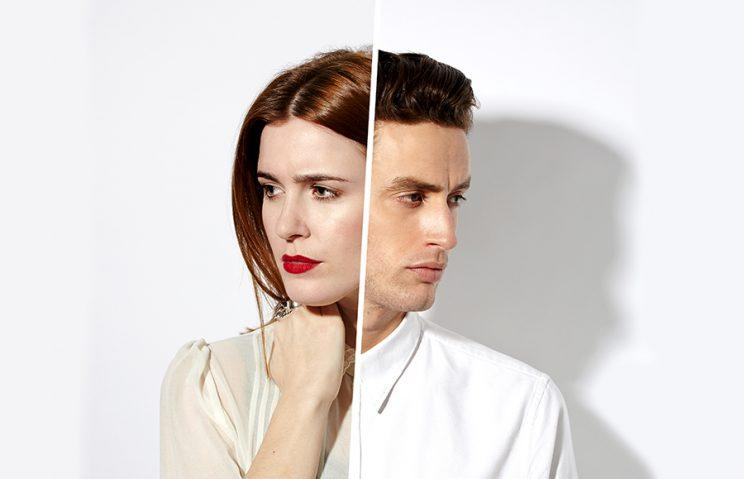 split of man and woman profile