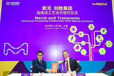 From left to right: Frank Ye, Chief Operating Officer of Transcenta; Ian Carmichael, Vice President and Head of BioProcessing China, Life Science business of Merck (PRNewsfoto/默克)