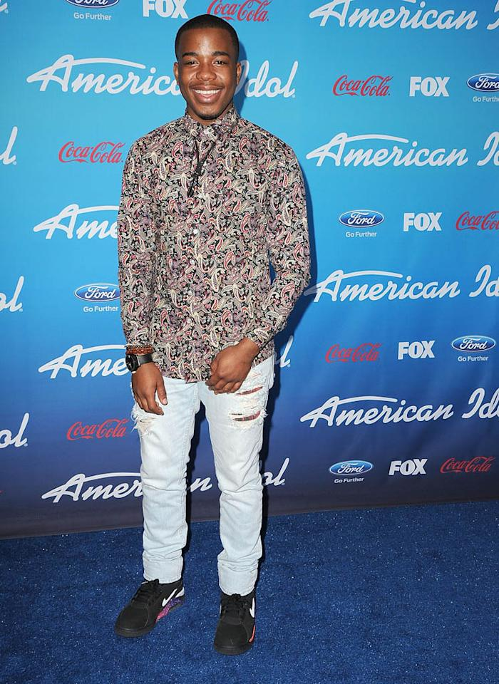 "Burnell Taylor attends the FOX ""American Idol"" finalists party at The Grove on March 7, 2013 in Los Angeles, California."