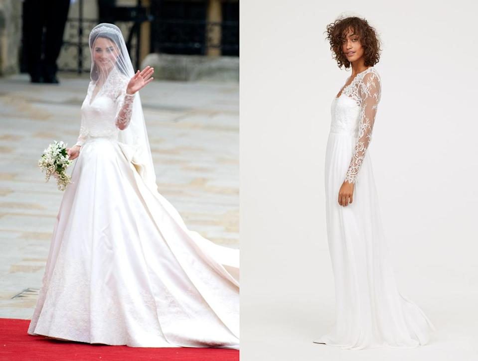 Kate Middleton's Alexander McQueen wedding dress (left) and H&M's similar long lace dress. (Photo: Getty Images/H&M)