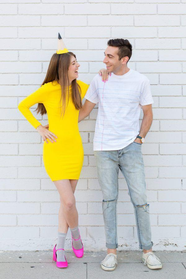 """<p>The perfect costume for a writerly pair—or anyone who loves school supplies! You'll both look sharp (get it?!) in this fun couple's costume. </p><p><strong>Get the tutorial at <a href=""""https://studiodiy.com/2017/09/27/diy-school-supplies-family-costume/"""" rel=""""nofollow noopener"""" target=""""_blank"""" data-ylk=""""slk:Studio DIY"""" class=""""link rapid-noclick-resp"""">Studio DIY</a>. </strong></p><p><strong><a class=""""link rapid-noclick-resp"""" href=""""https://www.amazon.com/dp/B07S722D6D/ref=twister_B07BQNGXLN?tag=syn-yahoo-20&ascsubtag=%5Bartid%7C10050.g.4616%5Bsrc%7Cyahoo-us"""" rel=""""nofollow noopener"""" target=""""_blank"""" data-ylk=""""slk:SHOP YELLOW T-SHIRT DRESSES"""">SHOP YELLOW T-SHIRT DRESSES</a></strong></p>"""