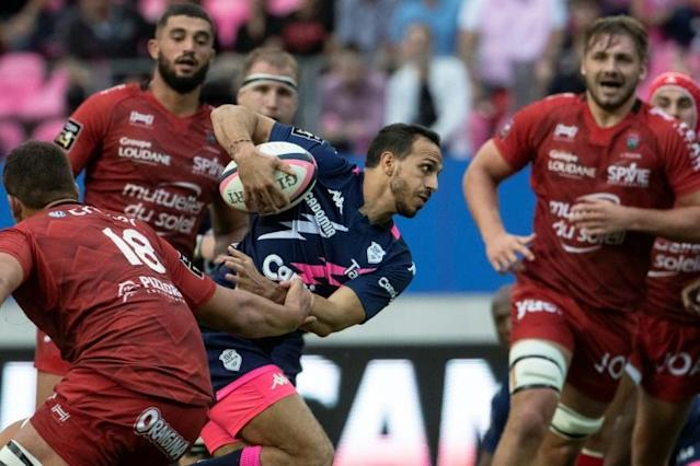 Kylan Hamdaoui scores Stade Francais' winning try (AFP Photo/Thomas SAMSON)