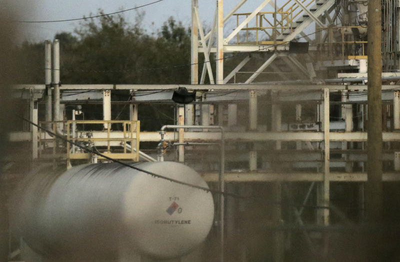 This Nov. 11, 2017, photo shows a tank at the Arkema plant in Crosby, Texas. More than a year after Hurricane Harvey slammed into the Texas coast, state environmental authorities have only just begun enforcement actions against a handful of companies deemed responsible for some of the most massive air and water pollution incidents reported during and immediately after the storm. (Elizabeth Conley/Houston Chronicle via AP)
