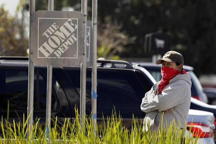 """At Home Depot in El Cerrito, Miguel Garcia, originally from Guatemala, said that before the pandemic he would get work three or four days a week earning $15 per hour. But now, """"there's nothing."""" He is supporting a family of four and worried how he will be able to pay his rent, which is over $2,000 per month."""