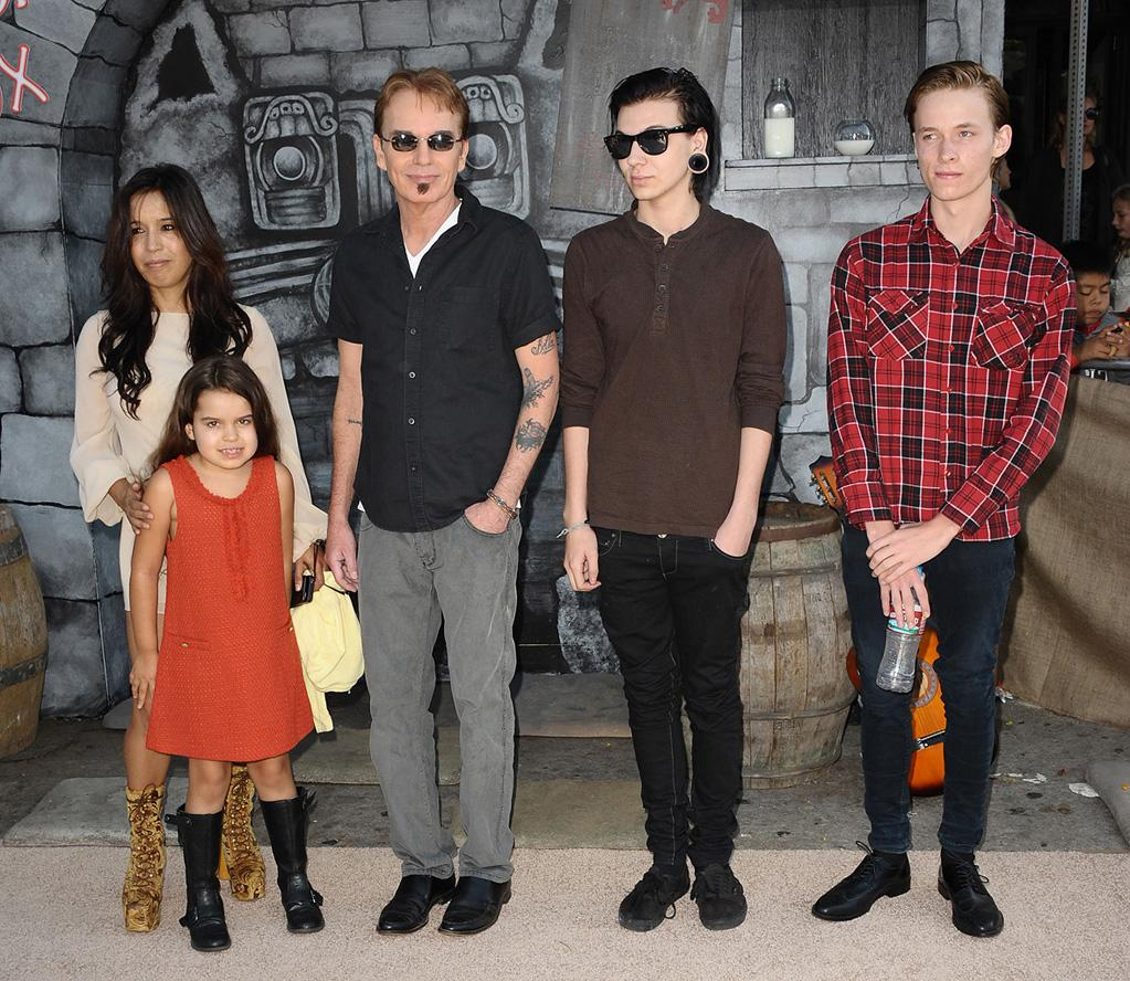 """<a href=""""http://movies.yahoo.com/movie/contributor/1800018605"""">Billy Bob Thornton</a> and family at the Los Angeles premiere of <a href=""""http://movies.yahoo.com/movie/1809796671/info"""">Puss in Boots</a> on October 23, 2011."""