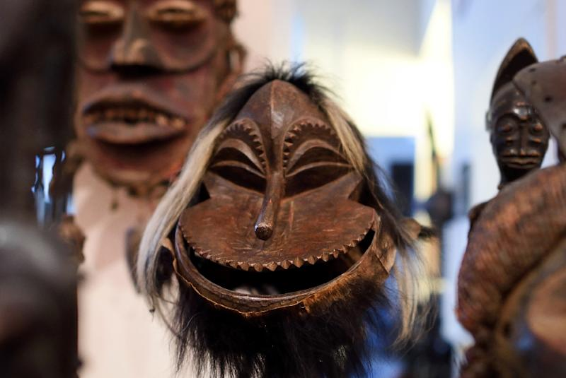 A Hemba mask from the Congo is among the items belonging to New Yorker Eric Edwards, who says his full collection is worth $10 million (AFP Photo/Don Emmert)
