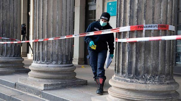 PHOTO: A police officer walks behind a caution tape at the Schinkelwache building in Dresden Monday, Nov. 25, 2019. Authorities in Germany say thieves have carried out a brazen heist at Dresden's Green Vault. (Sebastian Kahnert/dpa via AP) (Sebastian Kahnert/AP)