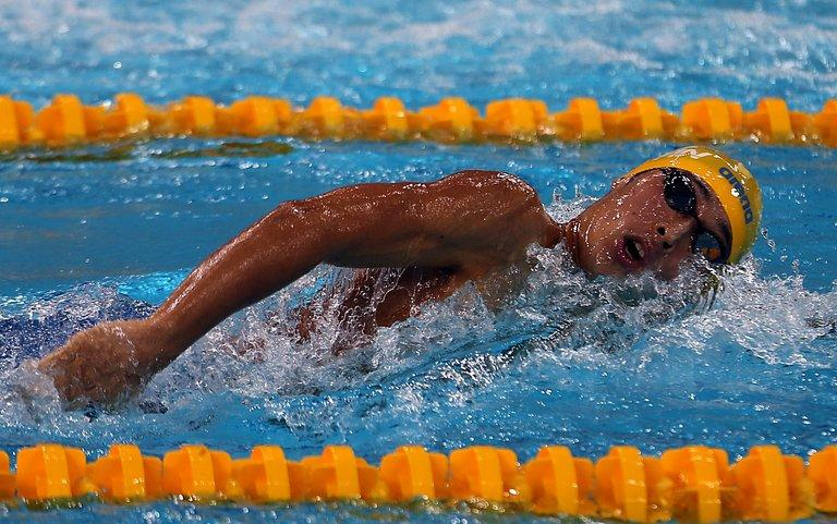 Kosuke Hagino of Japan competes in Dubai, on October 2, 2012