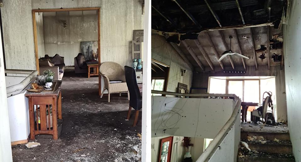 Pictured is the fire damage throughout the home. Source: Linda Barrett