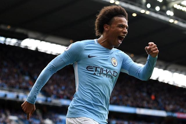 Manchester City's Leroy Sane celebrates after scoring their fourth goal during the English Premier League match against Liverpool at the Etihad Stadium in Manchester, on September 9, 2017 (AFP Photo/Oli SCARFF )