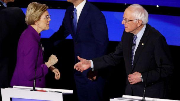 PHOTO: Sen. Elizabeth Warren and Sen. Bernie Sanders greet each other at the close of a Democratic presidential primary debate hosted by CNN and the Des Moines Register in Des Moines, Iowa, Jan. 14, 2020. (Patrick Semansky/AP)