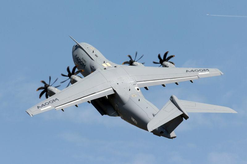 FILE PHOTO: An Airbus A400M military aircraft participates in a flying display during the 51st Paris Air Show at Le Bourget airport near Paris