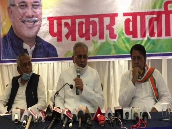Chhattisgarh Chief Minister Bhupesh Baghel speaking at a press conference in Gwalior, Madhya Pradesh.