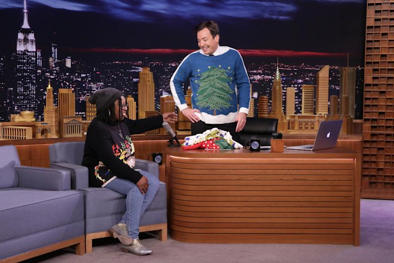 Watch Jimmy Fallon Model Whoopi Goldbergs Light Up Ugly Holiday Sweater