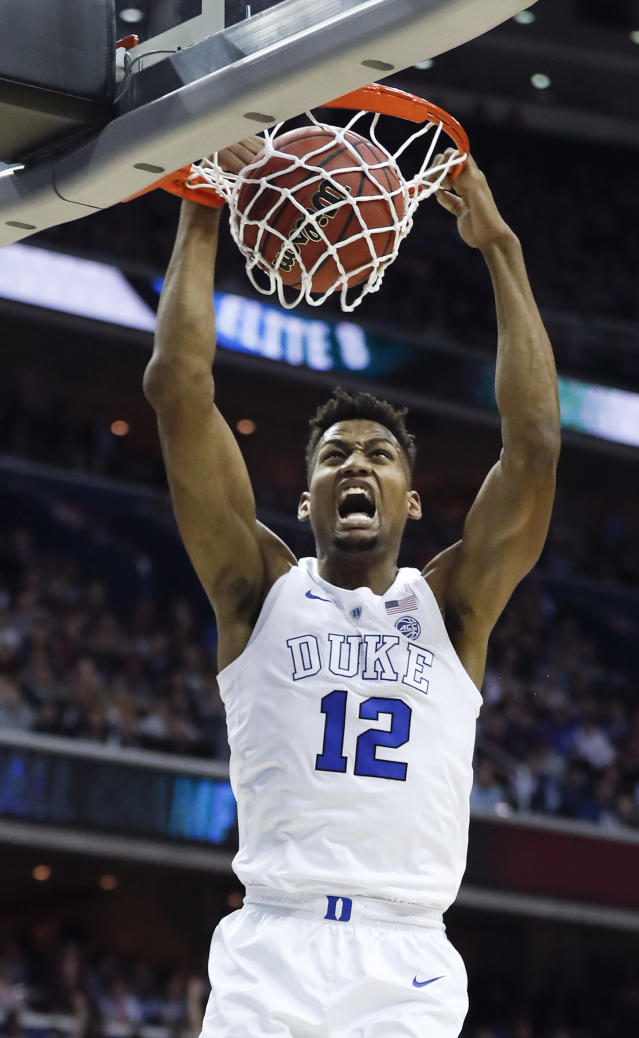 <p>Duke forward Javin DeLaurier scores against Virginia Tech during the first half of an NCAA men's East Regional semifinal college basketball game in Washington, Friday, March 29, 2019. (AP Photo/Patrick Semansky) </p>