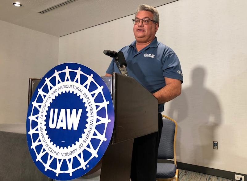 UAW public relations official Brian Rothenberg speaks during the press conference relating to the tentative agreement at General Motors at the Renaissance Center in Detroit, Thursday, Oct. 17, 2019.