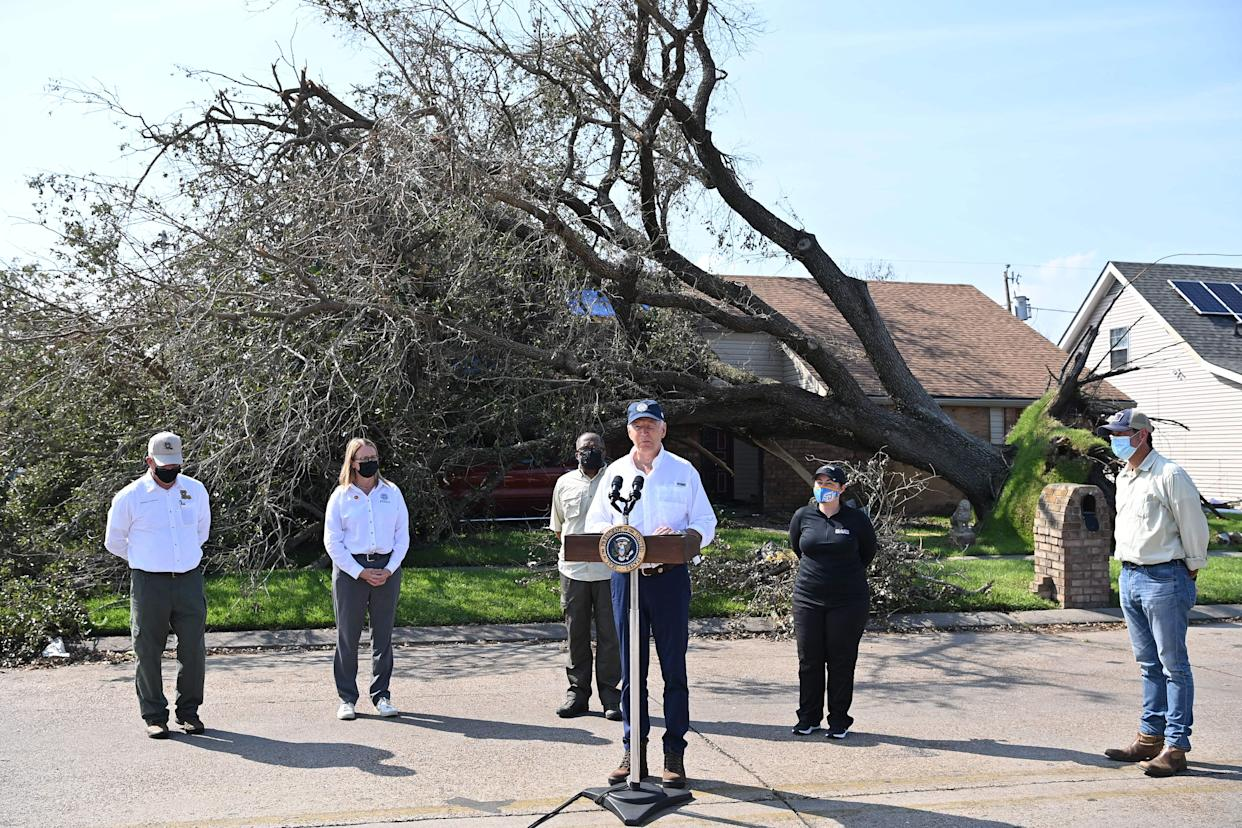 US President Joe Biden delivers remarks after touring the Cambridge neighborhood affected by Hurricane Ida, in LaPlace, Louisiana, on September 3, 2021. (Mandel Ngan/AFP via Getty Images)