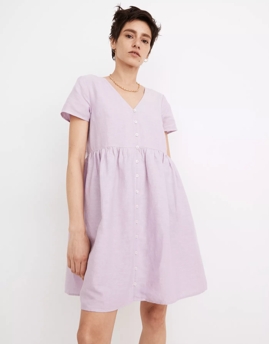 """<h2>Linen-Blend Alexandra Button-Front Mini Dress<br></h2><br><strong><em>The Most Hopeful</em></strong><br><br>We can all agree that 2020 was a rough year — for us, and for our wardrobes. For anyone who's daunted at the notion of getting dressed to go outside for the first time in 12 months, may we suggest Madewell's crocus-colored linen frock? Reviewer found that it offered comfort, style, and most-importantly, a much-needed dose of optimism.<br><br><strong>The Hype: </strong>4.4 out of 5 stars; 134 reviews on Madewell.com<br><br><strong>What They're Saying</strong>: """"Warning: emotional review ahead. I, like many of us, have struggled during 2020. Sitting at home, I've become consigned to old leggings and sweatshirts. As summer (and hope!!) looms closer, I've started to get excited about getting dressed again. However I soon realized that none of my clothes fit. None. My body and size being unrecognizable, putting on all of my spring/summer clothes has either prompted tears or """"Oh God get it off right now."""" BUT this dress came in the mail. I put it on. I recognized my figure again. I thought about getting dressed and accessorizing again. It's roomy on the bottom (I'm a 10 - 12 pants and a M was not even close to being too small/is just right). I'm a 36C on top and the top of this dress is fitted. If nothing else, I can wear this dress everyday of the summer."""" — sd1786, Madewell.com reviewer<br><br><em>Shop <strong><a href=""""https://www.madewell.com/"""" rel=""""nofollow noopener"""" target=""""_blank"""" data-ylk=""""slk:Madewell"""" class=""""link rapid-noclick-resp"""">Madewell</a></strong></em><br><br><strong>Madewell</strong> Linen-Blend Alexandra Button-Front Mini Dress, $, available at <a href=""""https://go.skimresources.com/?id=30283X879131&url=https%3A%2F%2Fwww.madewell.com%2Flinen-blend-alexandra-button-front-mini-dress-AL713.html%3Fdwvar_AL713_color%3DPR6113"""" rel=""""nofollow noopener"""" target=""""_blank"""" data-ylk=""""slk:Madewell"""" class=""""link rapid-noclick-resp"""">Madewell</a>"""