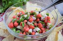 """<p>If you've <a href=""""https://www.thedailymeal.com/cook/how-pick-perfect-watermelon?referrer=yahoo&category=beauty_food&include_utm=1&utm_medium=referral&utm_source=yahoo&utm_campaign=feed"""" rel=""""nofollow noopener"""" target=""""_blank"""" data-ylk=""""slk:picked out the perfect watermelon"""" class=""""link rapid-noclick-resp"""">picked out the perfect watermelon</a>, eat a few slices as-is, but be sure to save some for this refreshing and light watermelon and jicama salsa — pair with something substantial, <a href=""""https://www.thedailymeal.com/recipes/never-fail-baby-back-ribs-recipe?referrer=yahoo&category=beauty_food&include_utm=1&utm_medium=referral&utm_source=yahoo&utm_campaign=feed"""" rel=""""nofollow noopener"""" target=""""_blank"""" data-ylk=""""slk:like ribs"""" class=""""link rapid-noclick-resp"""">like ribs</a> for a balanced meal.</p> <p><a href=""""https://www.thedailymeal.com/best-recipes/easy-watermelon-salsa?referrer=yahoo&category=beauty_food&include_utm=1&utm_medium=referral&utm_source=yahoo&utm_campaign=feed"""" rel=""""nofollow noopener"""" target=""""_blank"""" data-ylk=""""slk:For the Easy Watermelon Salsa recipe, click here."""" class=""""link rapid-noclick-resp"""">For the Easy Watermelon Salsa recipe, click here.</a></p>"""