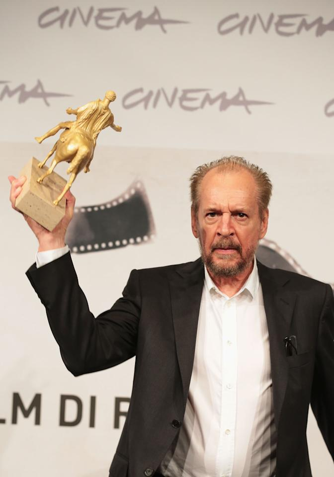 ROME, ITALY - NOVEMBER 17:  Director Larry Clark poses with his Golden Marc'Aurelio for Best Film druing the Award Winners Photocall during the 7th Rome Film Festival at Auditorium Parco Della Musica on November 17, 2012 in Rome, Italy.  (Photo by Elisabetta Villa/Getty Images)