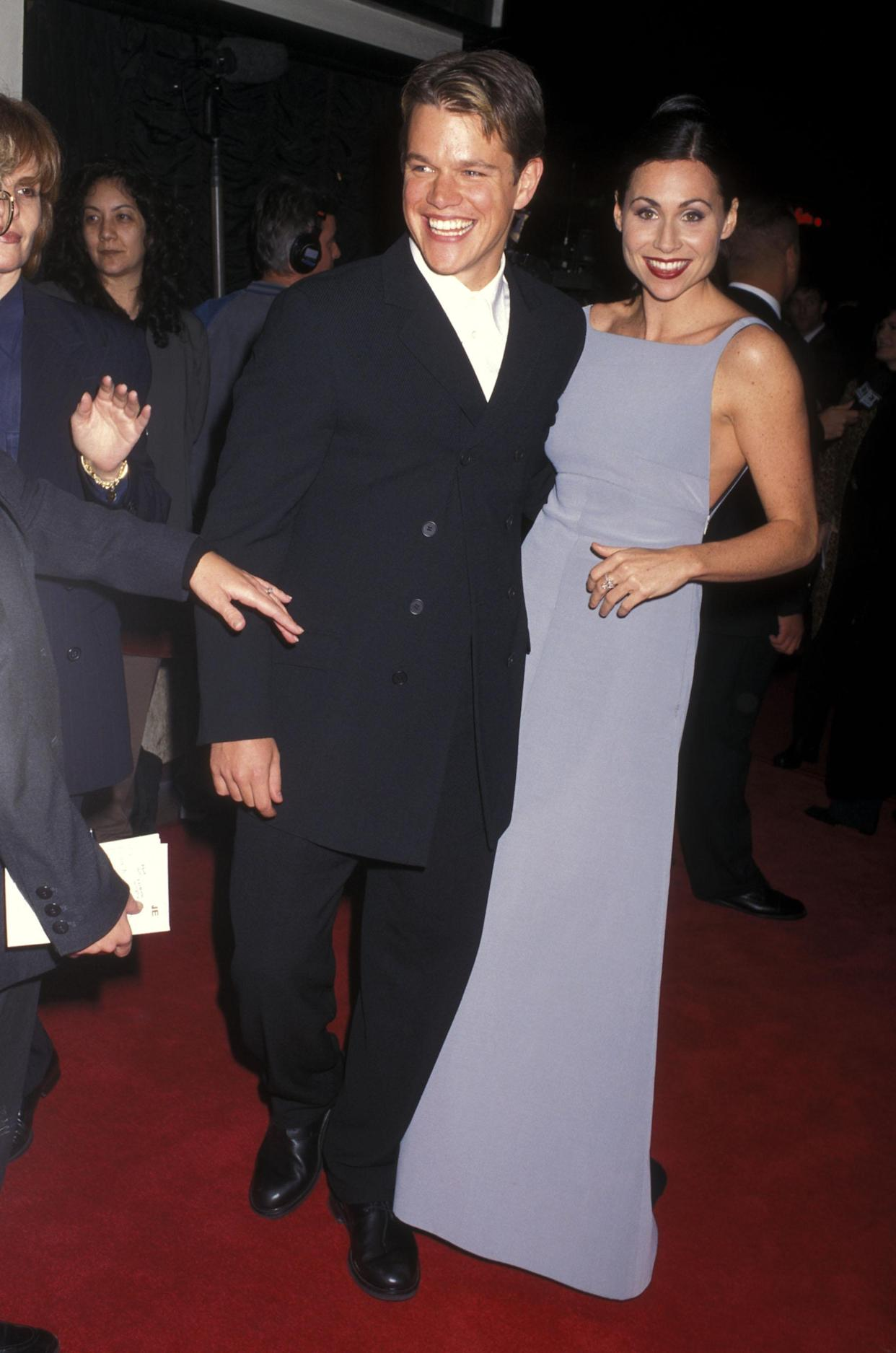 Matt Damon and Minnie Driver together at the Good Will Hunting premiere in December 1997.