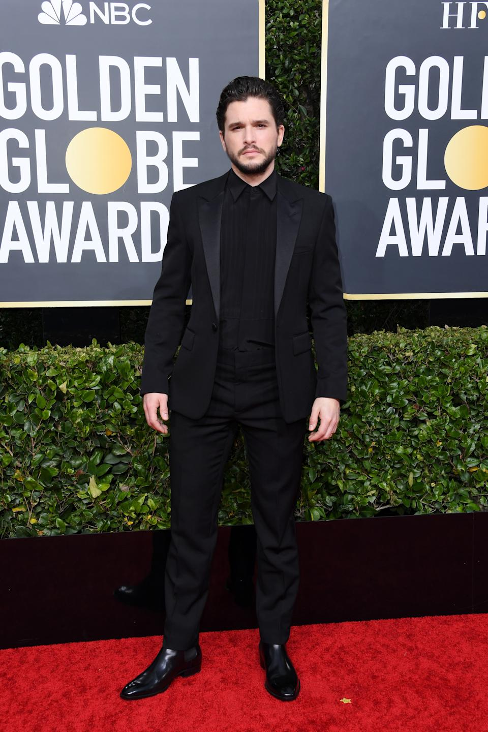 "<h1 class=""title"">Kit Harington in Saint Laurent, Jimmy Choo shoes, and Tiffany & Co. jewelry</h1><cite class=""credit"">Photo: Getty Images</cite>"