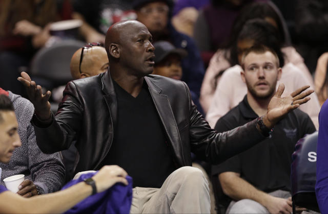 "<a class=""link rapid-noclick-resp"" href=""/ncaaf/players/263612/"" data-ylk=""slk:Michael Jordan"">Michael Jordan</a> took issue with Donald Trump's opposition to free speech. (AP)"