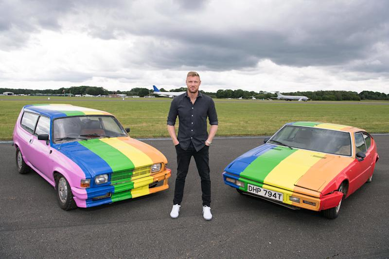 'Top Gear' presenter Freddie Flintoff unveils cars painted in the colours of the Pride flag after filming in Brunei, which has announced anti-LGBTQ laws.(Credit: BBC/Jeff Spicer)