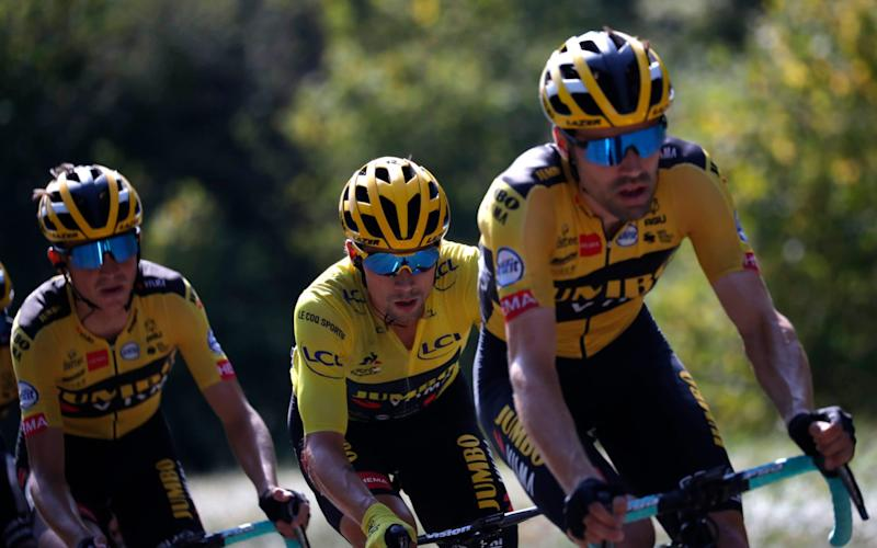 Bourg-en-Bresse to Champagnole - France - September 18, 2020. Team Jumbo-Visma rider Primoz Roglic of Slovenia, wearing the overall leader's yellow jersey - REUTERS/Stephane Mahe
