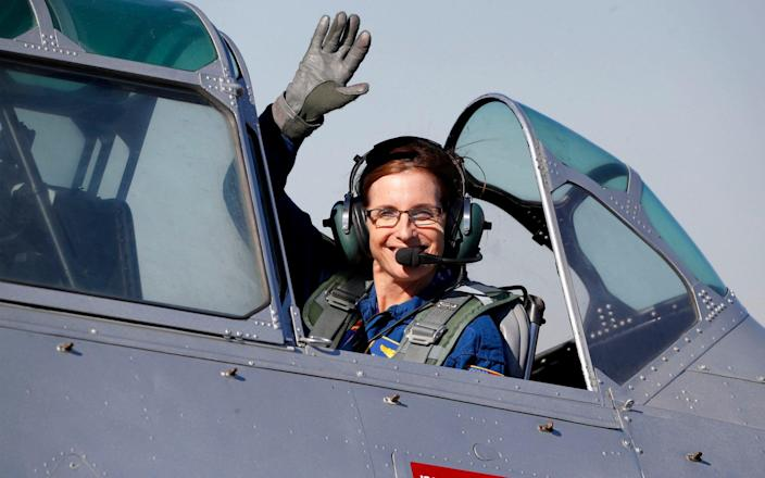 In this Jan. 12, 2018, file photo, Martha McSally, R-Ariz., leaves in a T-6 World War II airplane after speaking at a rally in Phoenix. - Matt York/AP
