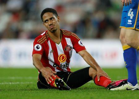 Football Soccer Britain - Sunderland v Shrewsbury Town - EFL Cup Second Round - The Stadium of Light - 24/8/16 Sunderland's Steven Pienaar looks dejected Action Images via Reuters / Lee Smith
