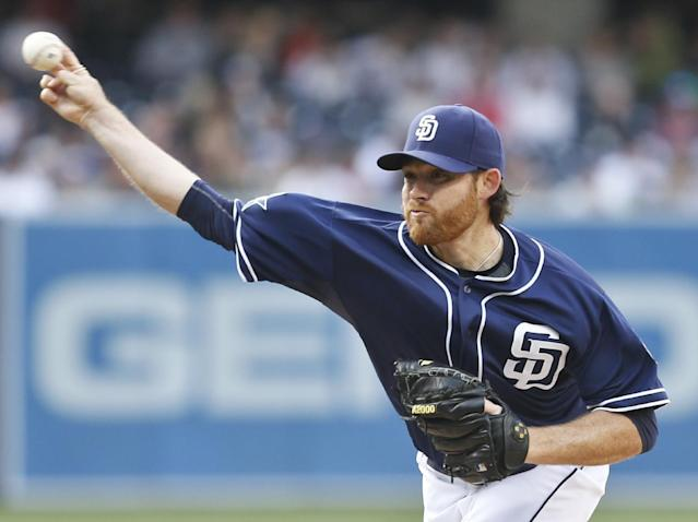 San Diego Padres starting pitcher Ian Kennedy faces the Detroit Tigers in the first inning of a baseball game Saturday, April 12, 2014, in San Diego. (AP Photo/Lenny Ignelzi)