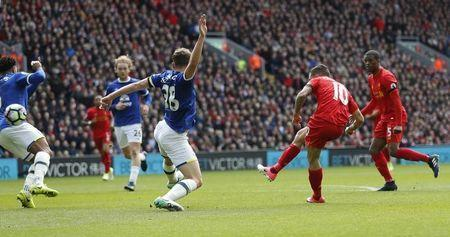Britain Soccer Football - Liverpool v Everton - Premier League - Anfield - 1/4/17 Liverpool's Philippe Coutinho scores their second goal Action Images via Reuters / Carl Recine Livepic